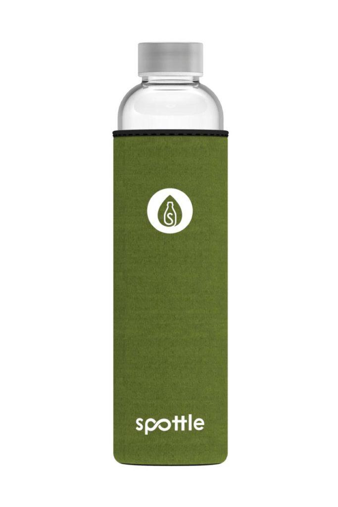 Spottle Glas-Trinkflasche 750ml mit güner Neoprenhülle