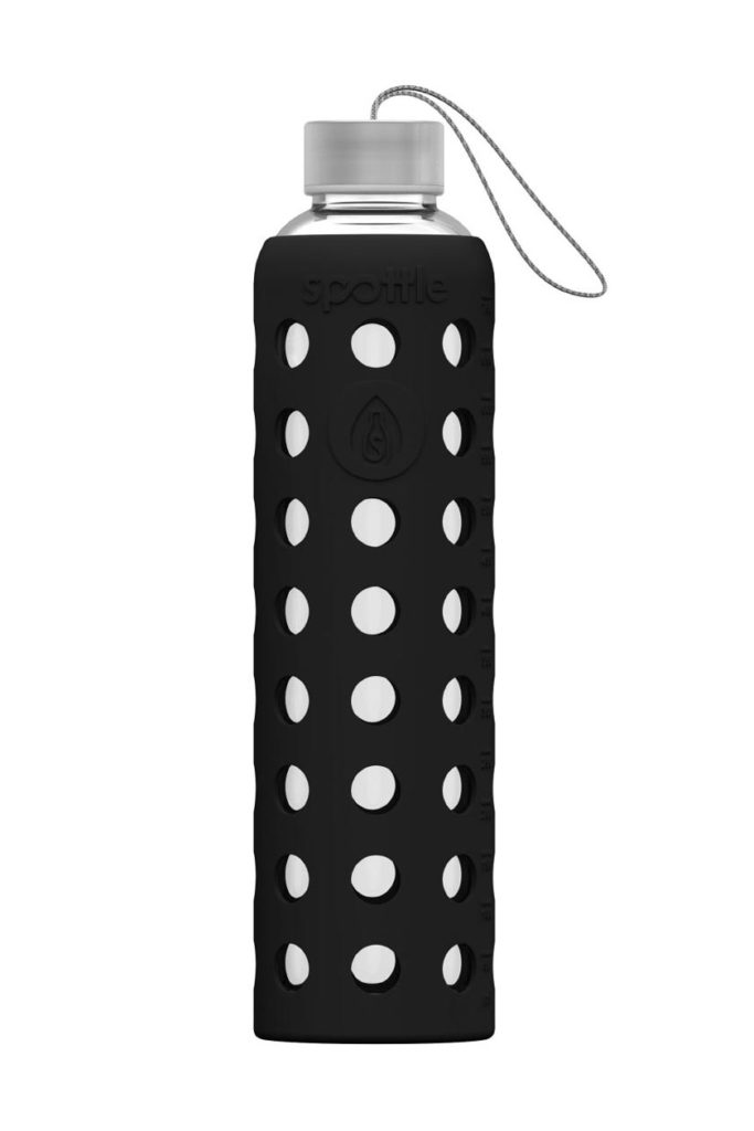 750ml Glastrinkflasche von Spottle mit schwarzer Silikonhülle