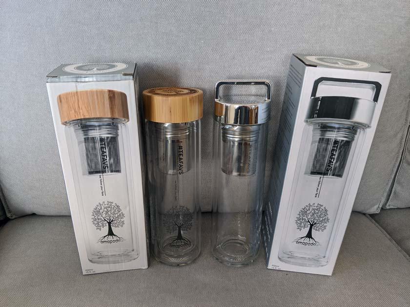 Amapodo 400ml Teeflaschen aus Glas mit Bambus und mit silbernem Deckel
