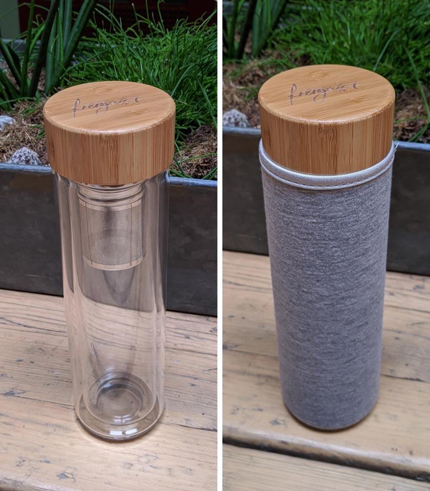 Freigeist Teeflasche aus Glas mit und ohne Neoprenhülle grau