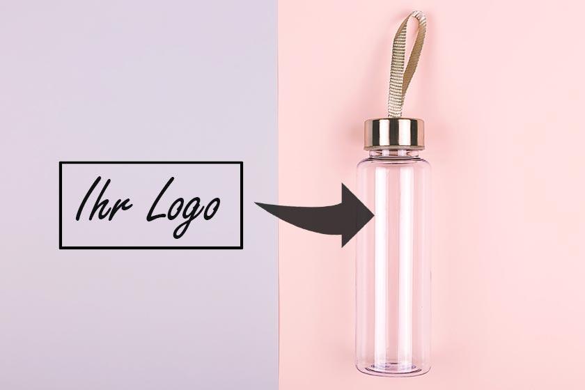 Glas-Trinkflaschen individualisieren mit Logo